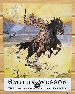 Smith & Wesson Hostiles cowboy horse TIN SIGN vtg western wall decor gun ad 1876