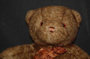 "DAKIN MOHAIR LIKE TEDDY BEAR RED TAG 15"" PLUSH STUFFED ANIMAL LOVEY TOY BIG LOT"