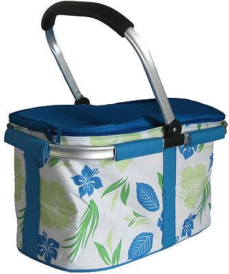 Folding Cooler Bag, Picnic Basket, Insulated Hamper, Large Cool Bag, Trug