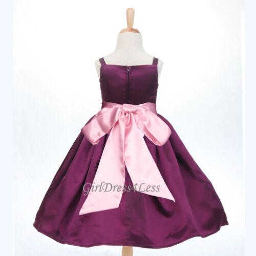 NEW PLUM//PURPLE SPAGHETTI STRAPS FLOWER GIRL DRESS GOWN 12-18M 2 4 5//6 8 10 12