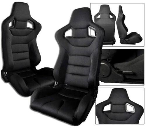 NEW 2 BLACK CLOTH RACING SEATS RECLINABLE ALL CHEVROLET *