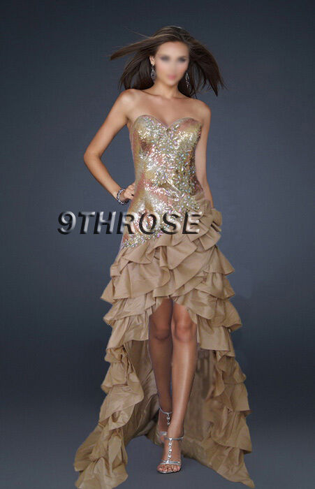 THE ULTIMATE GLAMOR  BEADED Gold EVENING FORMAL PROM DRESS HIGH-LOW HEM AU18US16