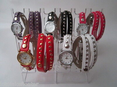 BALI STUD GENEVA SOFT LEATHER  WRAP AROUND FASHION WATCH,  FIVE DIFFERENT COLORS