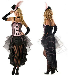 Burlesque-Moulin-Rouge-Fancy-Dress-Can-Can-Girl-Costume-Outfit-Hat-Glove