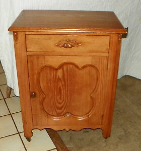 Mid-1800-039-s-Chestnut-Washstand-Cabinet-with-Towel-Rack-DR64