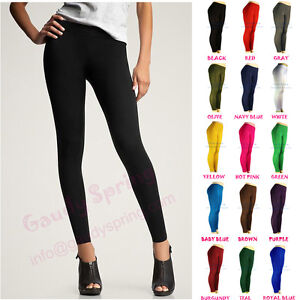 NEW-LADIES-BASIC-ULTRA-STRETCH-FOOTLESS-TIGHTS-FULL-LENGTH-MULTI-COLORS-XS-S-M-L