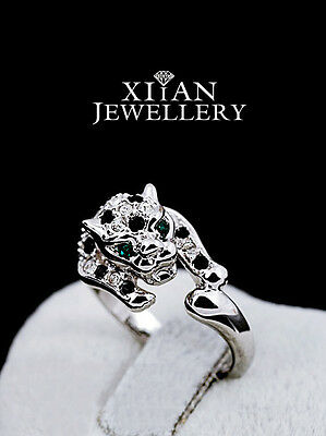 Brand New Silver Plated Baby Leopard Statement Ring with Emerald Eyes, R397