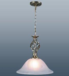 TRADITIONAL-BARLEY-TWIST-ANTIQUE-BRASS-MURANO-GLASS-SHADE-CEILING-LIGHT-PENDANT