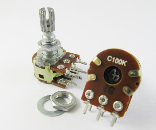 6x ALPHA C100K Dual Stereo Potentiometer Log Taper pots