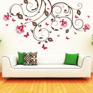 10152-Sticker-Mural-Modele-Volutes-De-Fleurs-Cirrus-Ornement-Fleurs