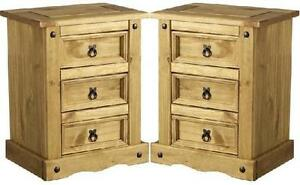 Pair-Bedside-Tables-Corona-Mexican-Pine-3-Drawer-Bedside-Cabinets-Brand-New