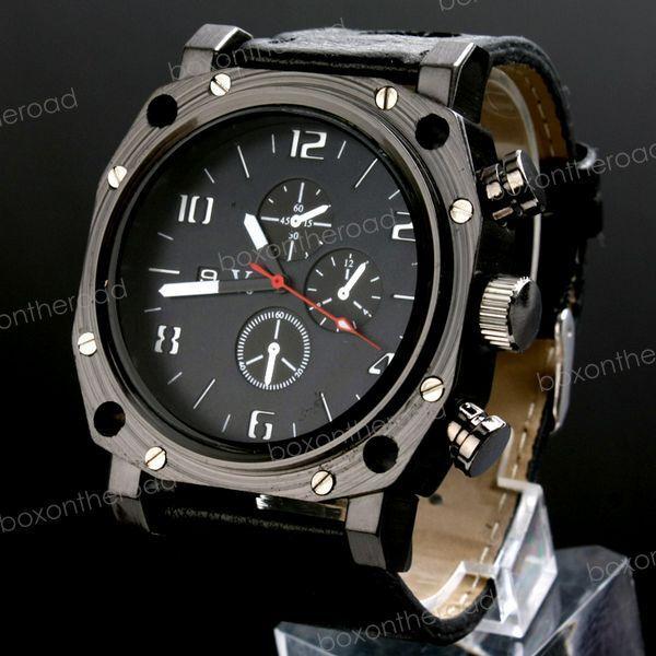 New Fashion Military Black Leather Men Sport Unisex Analog Quartz WristWatch