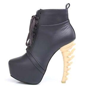 Womens-Black-Special-Unique-High-Bone-Looks-Heels-Platform-Round-Toe-Boot-Shoes