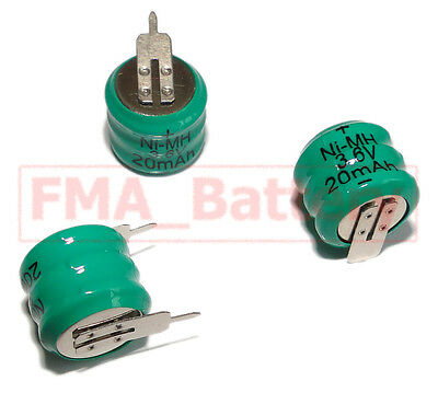 3x Ni-MH Button Rechargeable Battery w/tabs 3.6V 20MAH For PLC Data backup power