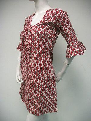 Tracy Negoshian Betsy Dress Red Gray Jersey Knit Bell Sleeve NEW NWT TN-006