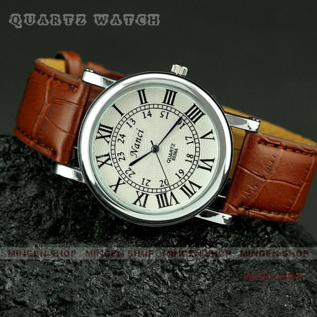 Q0358 - Fashion Brown Leather Band Roman Numerals Men's Casual Wrist watches