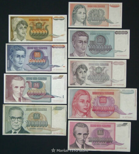 Yugoslavia *HYPERINFLATION SET* - 9 Notes - Belgrade 1993 - P 118 119 121 - 127