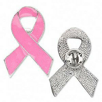 Breast Cancer Pink Ribbon Lapel Brooch Pin Awareness 1-1/2 inch Lot of 4