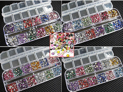 3600 Pcs Rhinestones Nail Art Case Assorted Designs for Acrylic Tips UV Gel Deco
