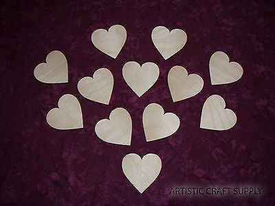 Heart Shape Wood Cutout Unfinished Wooden Hearts 12 PCS #2 Artistic Craft Supply