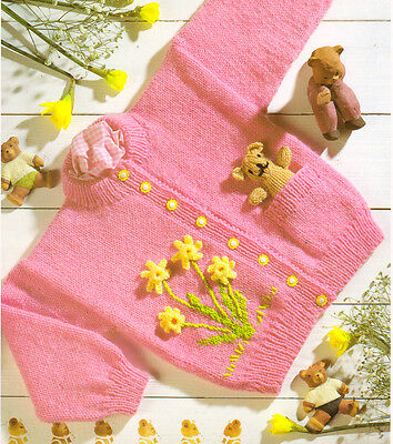 "Spring Daffs & Pocket Teddy Bear Cardigan  20""-26""  1 ~7 yrs DK Knitting Pattern"