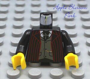 NEW-Lego-Male-Boy-MINIFIG-TORSO-Black-w-Red-Stripe-Suit-Jacket-Tie-Pattern