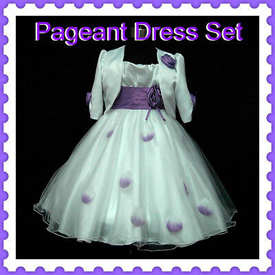 Kids Purples White Christmas Party Flower Girls Dress + Cardigan SIZE 2-3-4-5-6Y