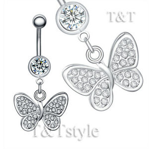 T-T-Clear-Crystal-Butterfly-Dangle-Belly-Bar-Ring-BL145A