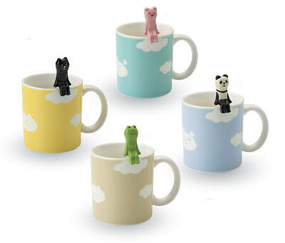 Cute Panda, Pig, Cat, Frog, Ceramic Cloud coffee Mug & Spoon Set- Decole Japan
