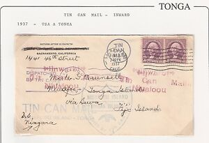 Tonga: Cover 1937.Tin Can Mail-Inward,Usa to Tonga.specialist collection.TG092
