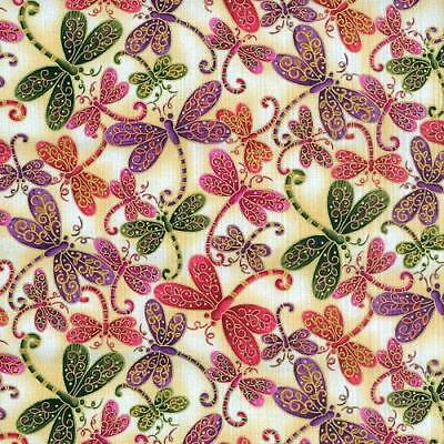 Fat Quarter Dragonfly Magic Ivory Cotton Quilting Fabric  50cm x 55cm