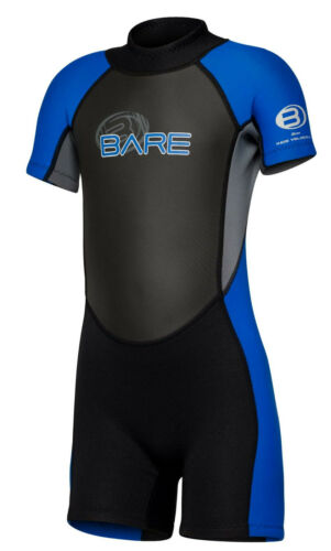 Bare Kids Velocity WetSuit Shorty Sun Guard Swim  Blue  All Size 2,4,6yr