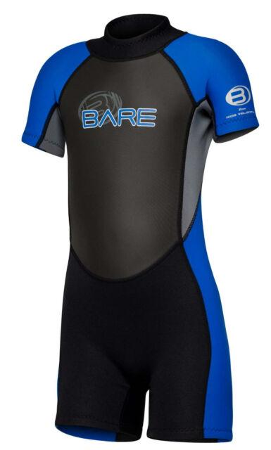 Bare Kids Velocity WetSuit Shorty Sun Guard Swim  Blue  All Size 2,4,6yr