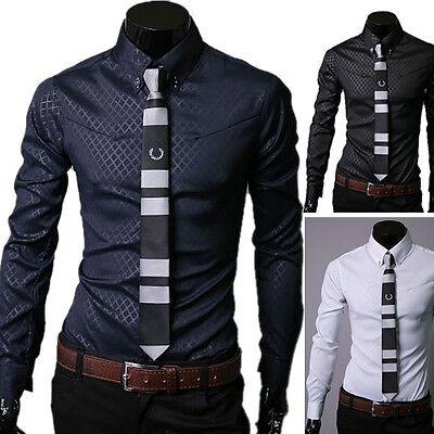 Luxury Mens New Stylish Slim Fit Long Sleeve Casual Shirts Formal Dress Shirts