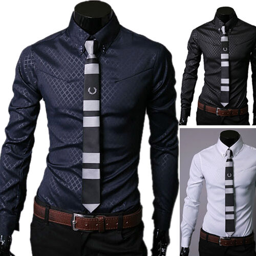 Stylish Men Long sleeve Slim Fit Shirt Casual Formal Dress Shirts BLK/Blue/White