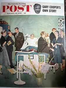 1956-Saturday-Evening-Post-Magazine-Cover-Art-Hospital-Patient-Flowers-Visitors