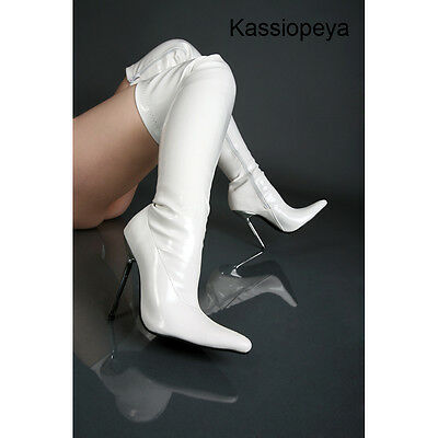Damenschuhe Herrenschuhe Stiefel Lackstiefel Overknees Weiß Unisex Boots Schuhe
