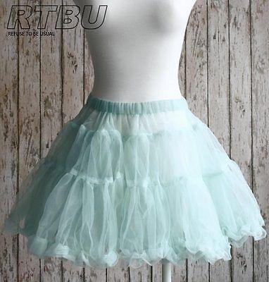 Fairy Kei Decora Puffy Tulle Sheer Tutu Skirt Vintage Light Powder Teal Blue