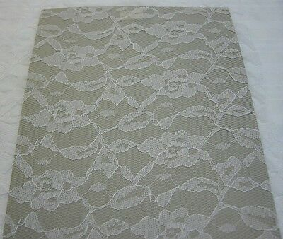 "62"" White Lace Bridal Allover Floral Clothes Curtains Crafts Home Decor 1 yard"
