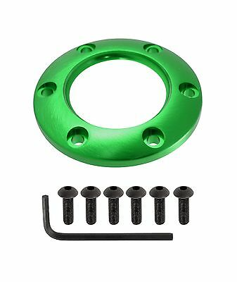 VMS STEERING WHEEL HORN BUTTON SURROUND CENTER RING WITH FOR 6 BOLT BILLET GREEN