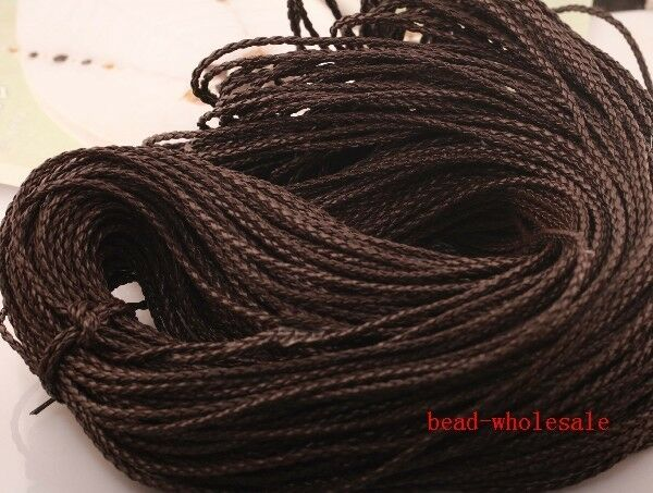 5m Dark Brown Man-made Leather Braid Rope Hemp Cord For Necklace Bracelet 3mm