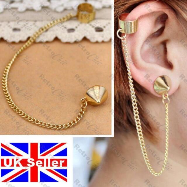"SPIKE rivet stud EAR CUFF 5""long punk chain EARRING gold plt SPIKES goth EARCUFF"