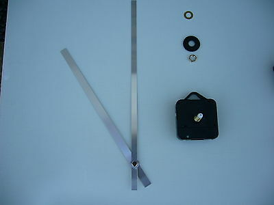 HIGH TORQUE CLOCK MOVEMENT  LONG SPINDLE 250MM SILVER METAL HANDS
