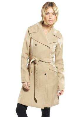 Ted Baker $550 Inesa Beige Double breasted coat Mac trenchcoat Mid thigh length