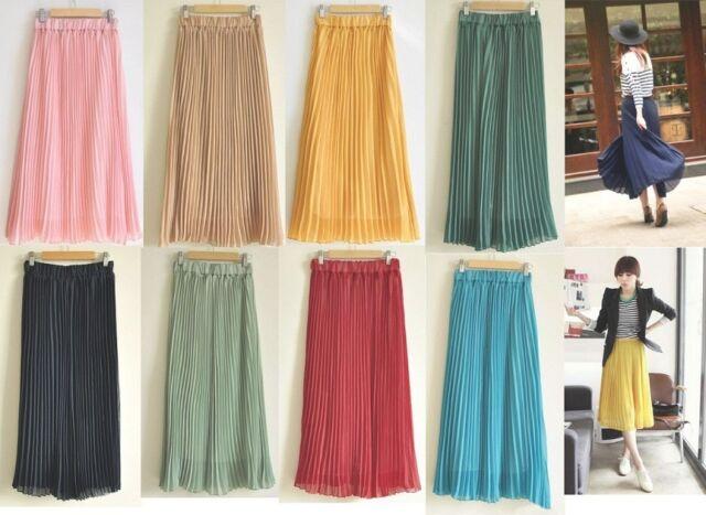 Women's Bohemian Pleated Wave Chiffon Maxi Long Skirt Beach Dress 11 colors Pick