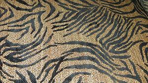 Tan-Black-Tiger-Print-Chenille-Upholstery-Fabric-1-Yard-R717