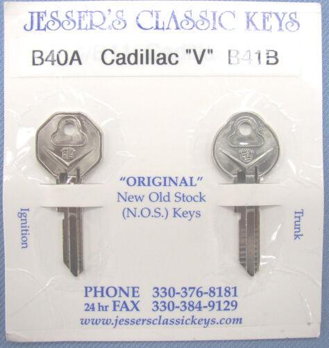 """Rare  1967 Cadillac  /""""V/""""  Original NOS Nickel Key Set  1967  B-40A  /&  B-41B"""