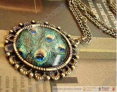 Fashion Retro peacock round necklace Pendant