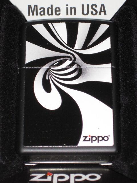 Zippo cigarette lighter Black White Spiral Falling into Op Art Artsy Black Hole