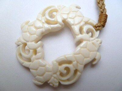 Hawaii Jewelry Turtle White Buffalo Bone Carved Pendant Necklace/Choker # 35384
